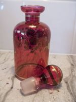 Cranberry Glass Perfume Decanter with 24K Hand Painted Gold