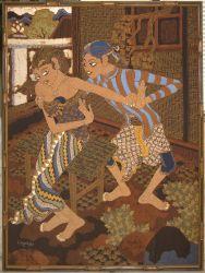 F. Agus Batik Painting of Javanese Dancers